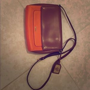 Ralph Lauren orange and brown crossbody